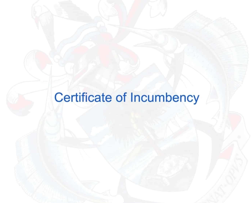 Certificate of Incumbency