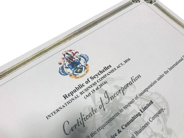 Le certificat (COI) pour l'incorporation d'une société offshore des Seychelles