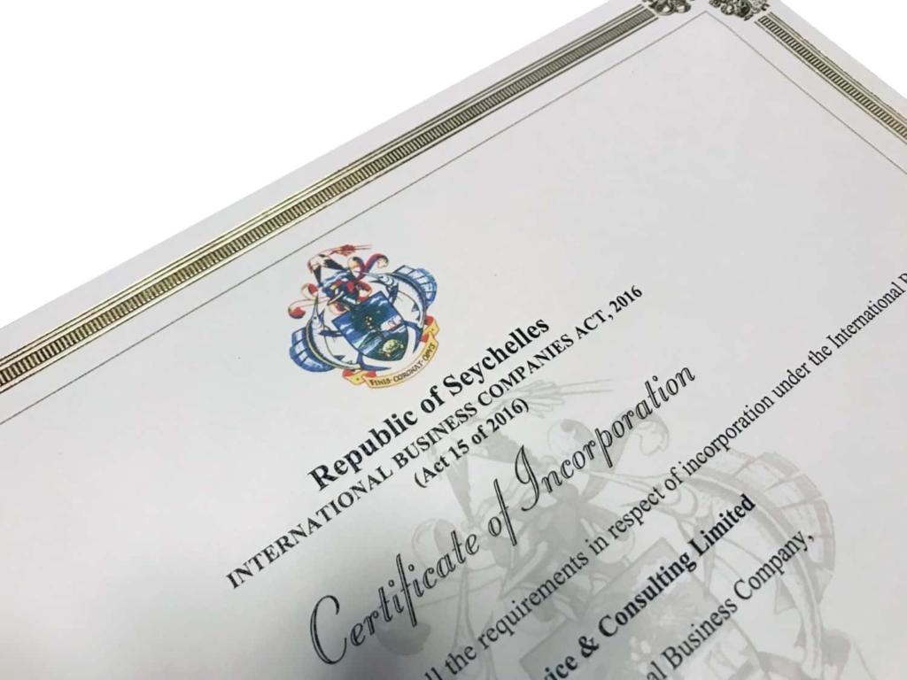 Certificat d'incorporation de votre société IBC offshore