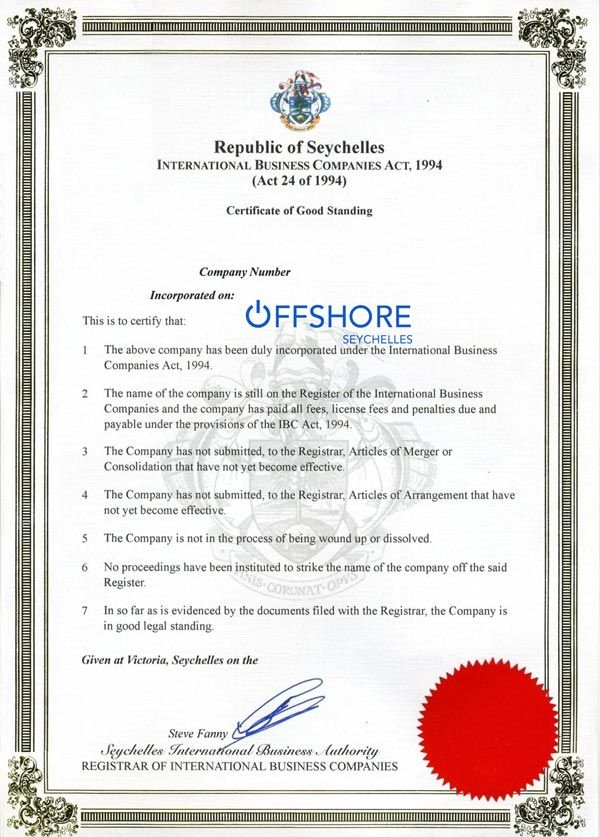 Offshore Seychelles can provide a Certificate of Good Standing for any Seychelles company (IBC)