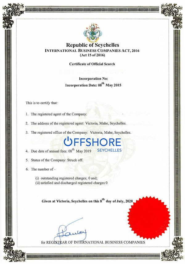 Certificate of Official Search, CoOS